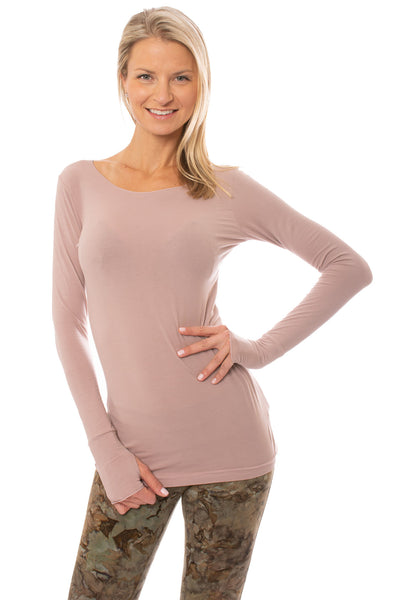 Hard Tail Forever - Supplex Lycra Long Sleeve Thumb-Hole Tee Shirt (SL-143, Mauve)