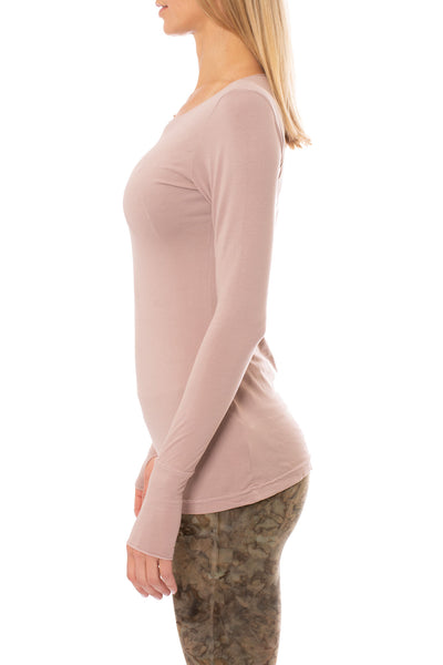 Hard Tail Forever - Supplex Lycra Long Sleeve Thumb-Hole Tee Shirt (SL-143, Mauve) alt view 1