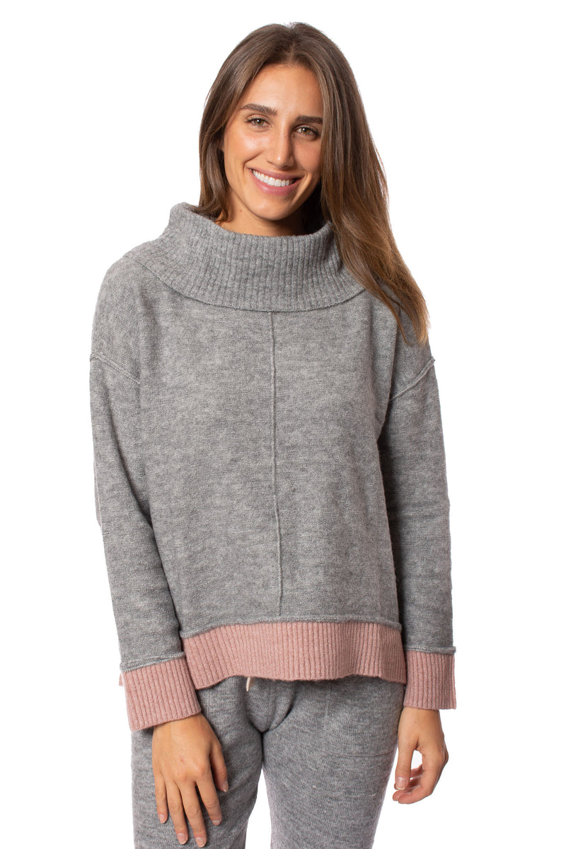 Vintage Havana - Cowl Neck Heavy Knit Sweater (B8755, Grey & Pink)