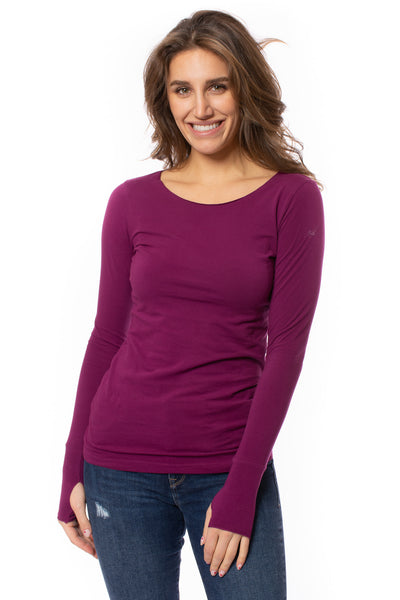 Hard Tail Forever - Cotton Lycra Long Sleeve W/Thumbhole (SL-143, Boysenberry)