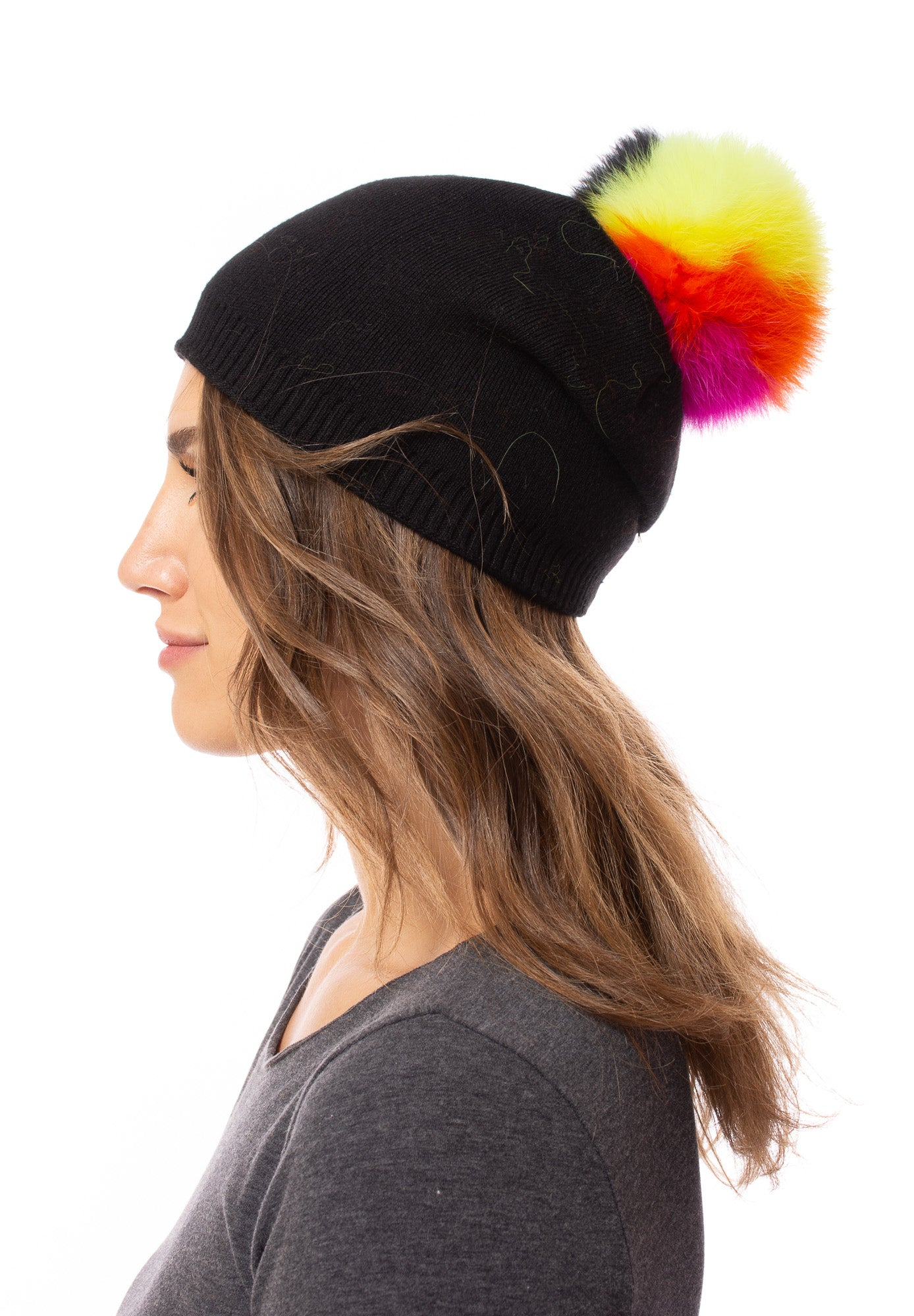 Haute Shore - Brooklyn Neon Fox Fur Pom-Pom Beanie (brooklyn gen pom, Neon)