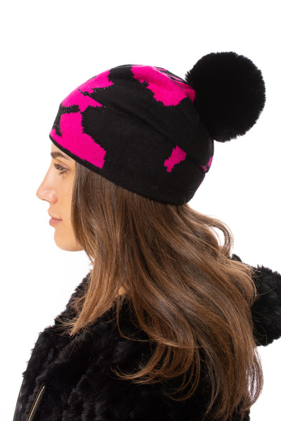Haute Shore - Colorado Beanie Faux Fur (colorado beanie faux, Black & Pink)