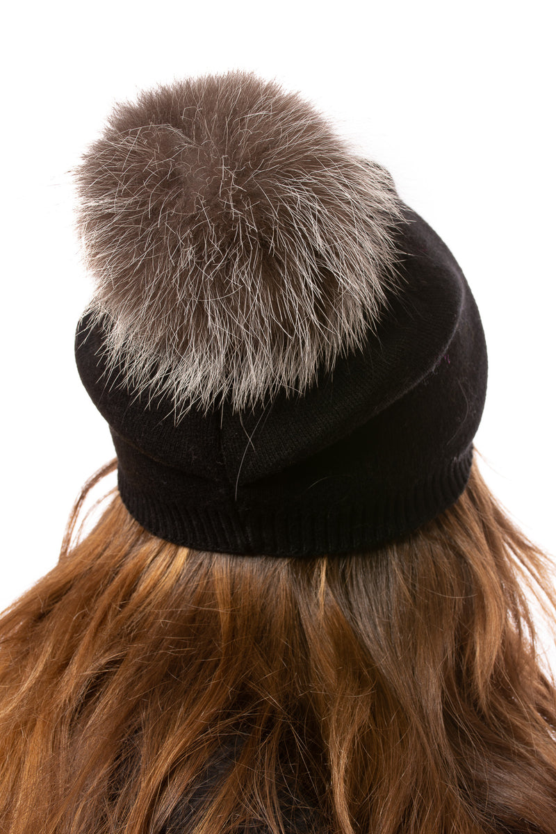 Haute Shore - Brooklyn Fox Fur Beanie (brooklyn gen pom, Black & Silver)