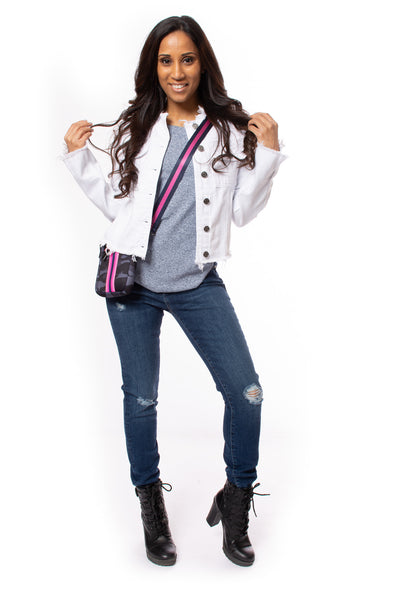 Hidden - Collarless Jean Jacket (HD936J, White)