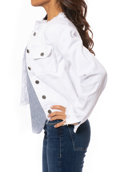 Hidden - Collarless Jean Jacket (HD936J, White) alt view 3