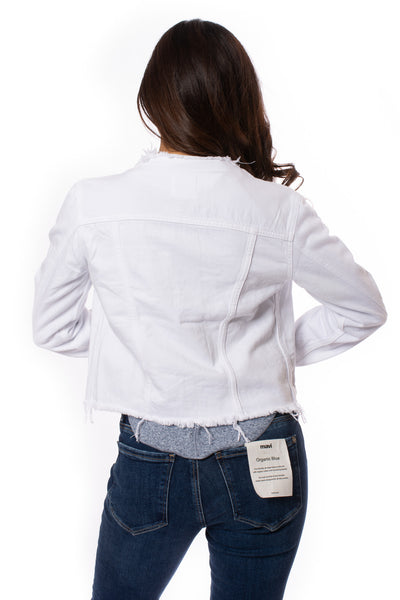 Hidden - Collarless Jean Jacket (HD936J, White) alt view 4