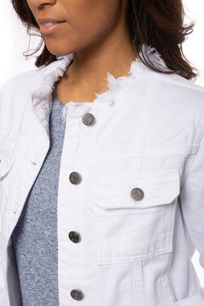 Hidden - Collarless Jean Jacket (HD936J, White) alt view 7