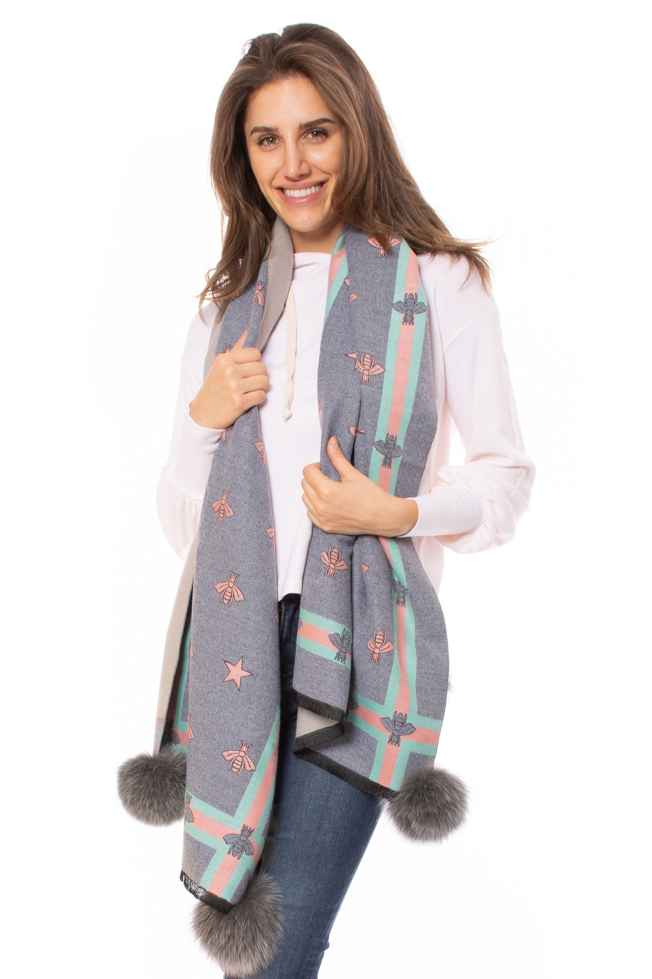 Mitchie's - Bumble Bee Scarf W/Pom-Pom (SC0704, Grey)