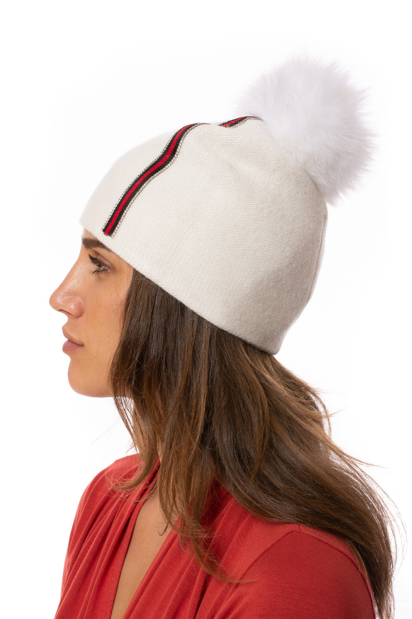 Mitchie's - Knit Beanie W/Fox Pom-Pom (HT0104, White)