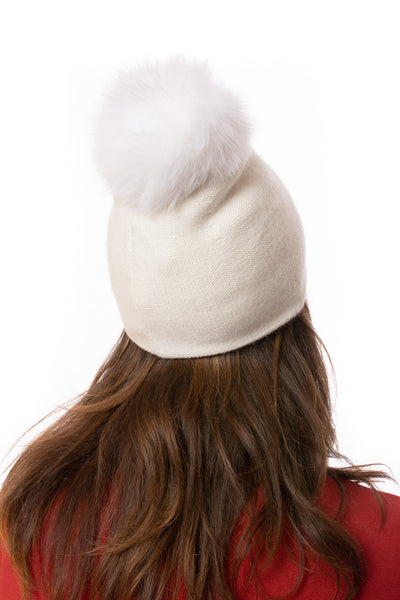 Mitchie's - Knit Beanie W/Fox Pom-Pom (HT0104, White) alt view 2