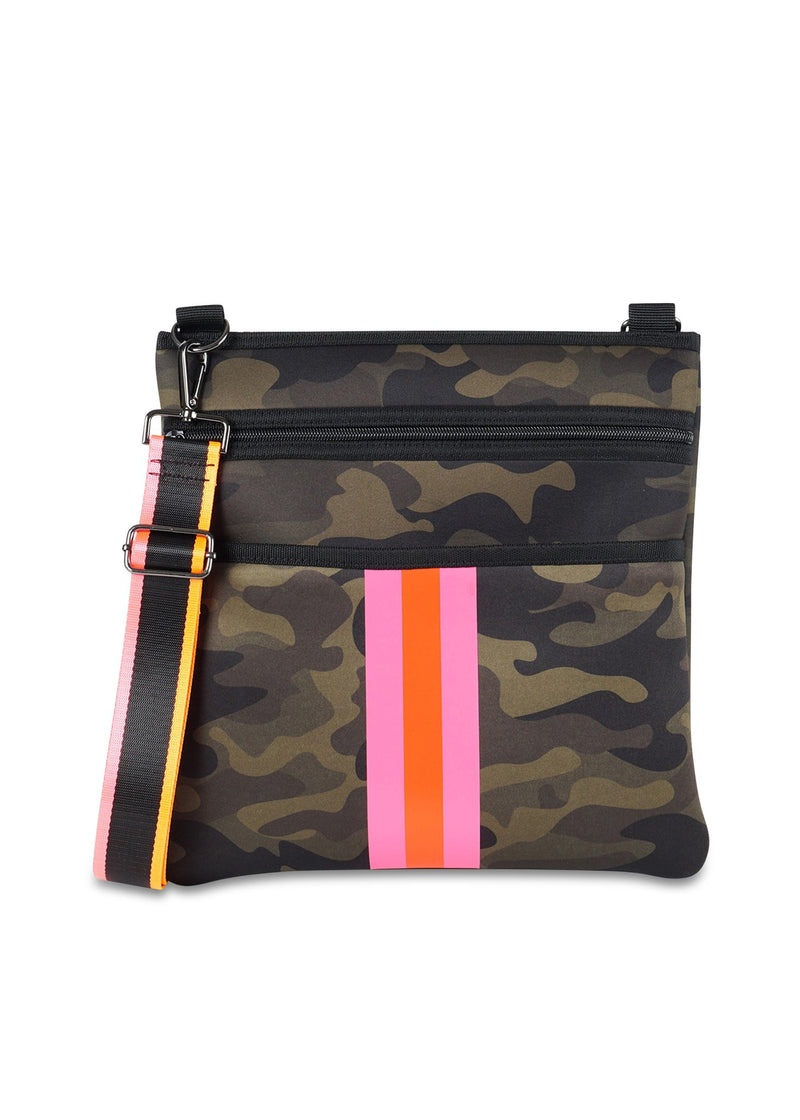 Haute Shore - Peyton Thrill Crossbody (Peyton, Camo Green w/Orange & Pink Stripe)