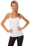Long Spaghetti Tank w/Bra (Style 586, White) by Hard Tail Forever