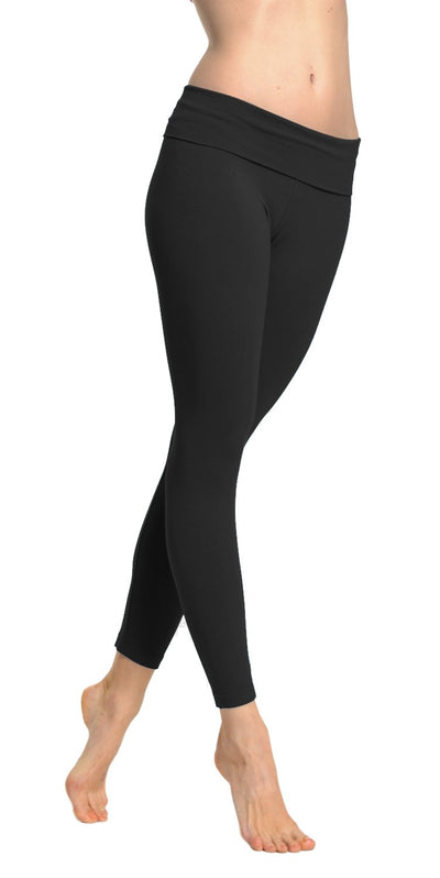 by Hard Tail Forever Roll Down Layered Legging Style 588, Dark Charcoal