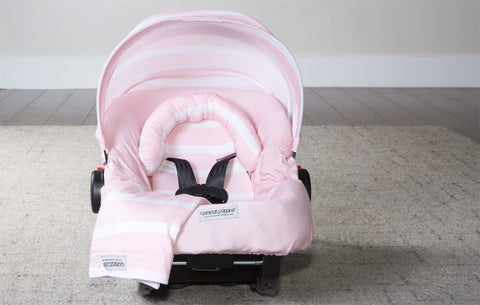 Pink Stripes - Carseat Canopy 5 Pc Whole Caboodle Baby Infant Car Seat Cover Kit with Minky Fabric