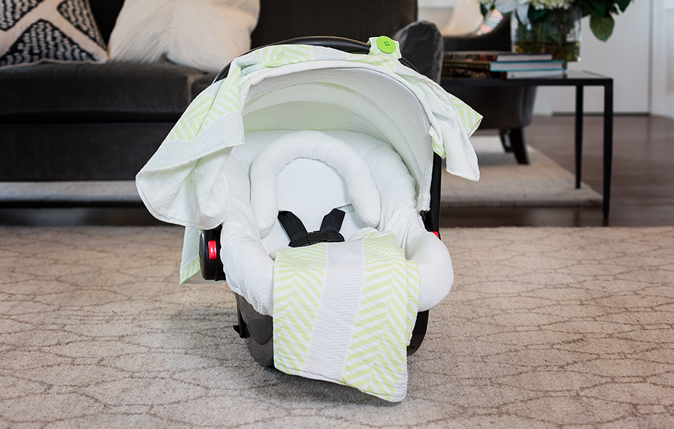 Lucas Muslin - Car Seat Canopy 5 Pc Whole Caboodle Baby Infant Car Seat Cover Kit with Minky Fabric