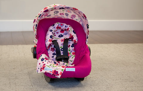 Summer - Carseat Canopy 5 Pc Whole Caboodle Baby Infant Car Seat Cover Kit with Minky Fabric