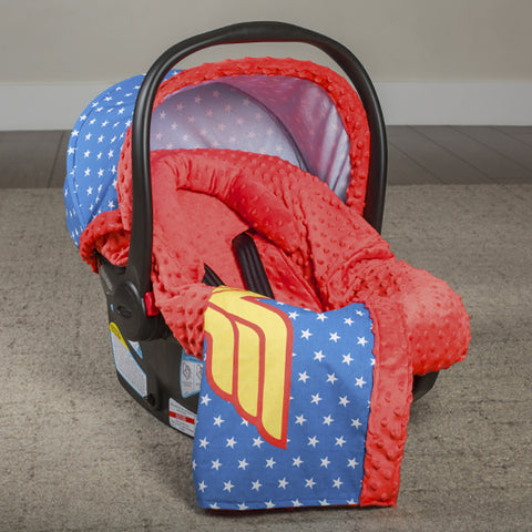 Wonder Woman - Carseat Canopy 5 Pc Whole Caboodle Baby Infant Car Seat Cover Kit with Minky Fabric