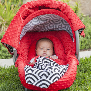 Solomon - Carseat Canopy 5 Pc Whole Caboodle Baby Infant Car Seat Cover Kit with Minky Fabric