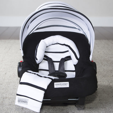 Black Stripes - Carseat Canopy 5 Pc Whole Caboodle Baby Infant Car Seat Cover Kit with Minky Fabric