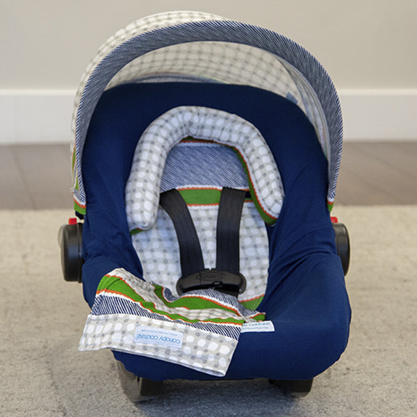 Lawrence - Car Seat Canopy 5 Pc Whole Caboodle Baby Infant Car Seat Cover Kit with Minky Fabric