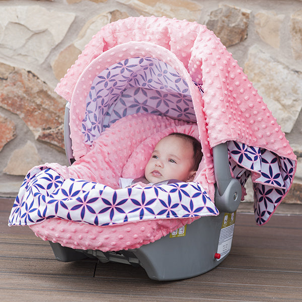 Kendra - Carseat Canopy 5 Pc Whole Caboodle Baby Infant Car Seat Cover Kit with Minky Fabric