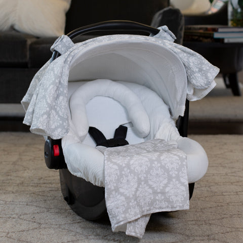 Kate - Carseat Canopy 5 Pc Whole Caboodle Baby Infant Car Seat Cover Kit with Minky Fabric