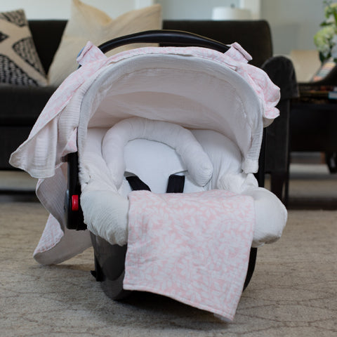 Ivy - Carseat Canopy 5 Pc Whole Caboodle Baby Infant Car Seat Cover Kit with Minky Fabric