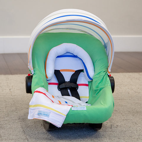 Tatum - Carseat Canopy 5 Pc Whole Caboodle Baby Infant Car Seat Cover Kit with Minky Fabric