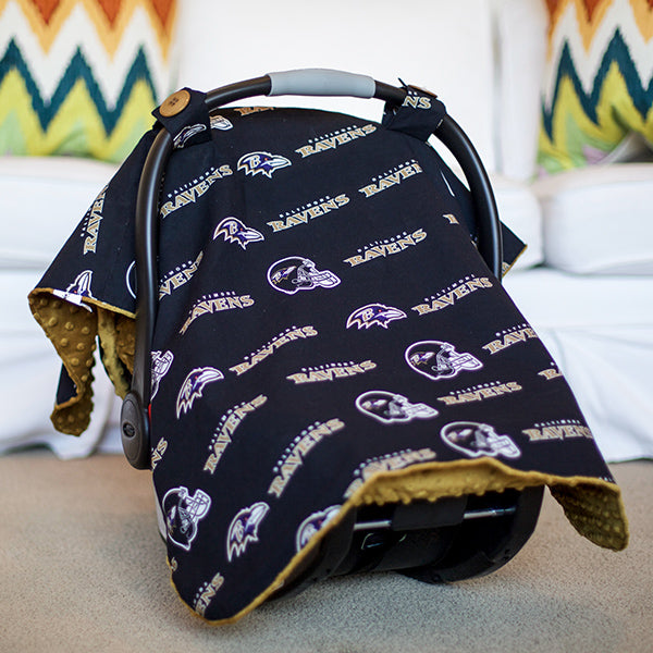 Baltimore Ravens - 2 in 1 Baby Car Seat Canopy and Breast Feeding Nursing Cover