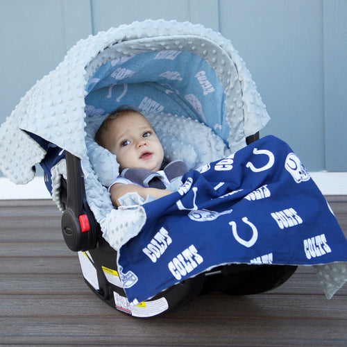Indianapolis Colts - Carseat Canopy 5 Pc Whole Caboodle Baby Infant Car Seat Cover Kit with Minky Fabric