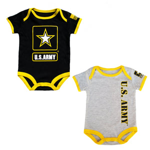 2 Pk Army baby Bodysuit - Black and Yellow