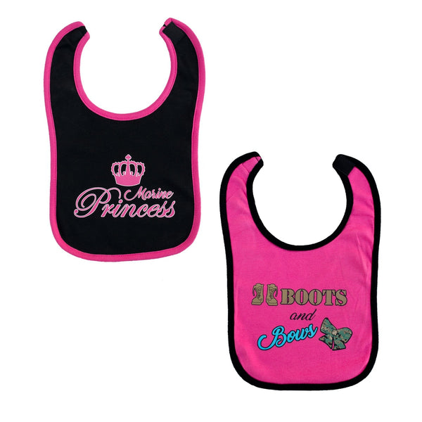 2pc Marine Girls Pink & Black Bibs-justbabywear