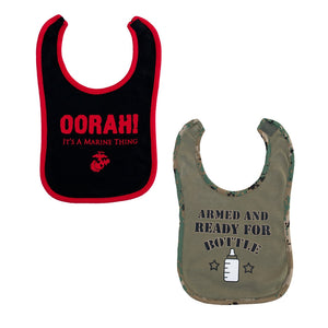 2pc Marine Red & Camo Boy Bibs-justbabywear