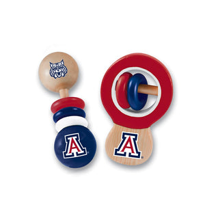 Arizona, University of 2 Pack Wood Baby Rattles