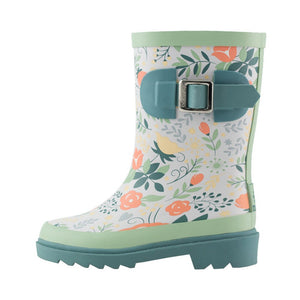 Coral Roses Buckle Rubber Rain Boots