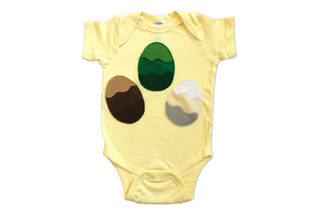 3 Dragon Eggs Yellow Infant Bodysuit