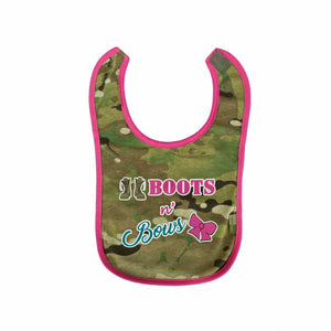 Multicam/OCP Boots and Bows Army Girl Bib