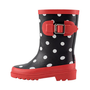 Polka Dot Buckle Rubber Rain Boot