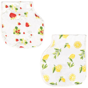 Strawberry Lemon - Muslin Burp Cloth Bib Set of 2