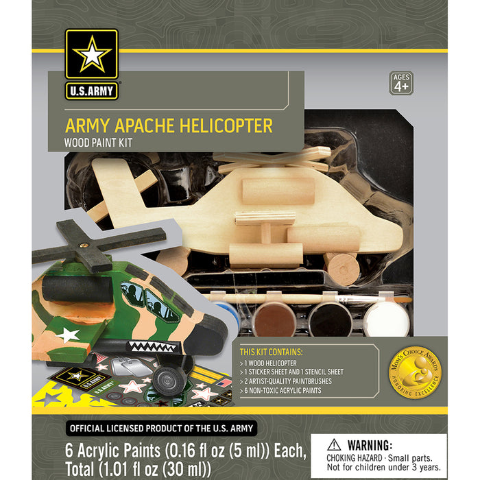 U.S. Army Licensed Apache Helicopter Wood Craft DIY Paint Kit