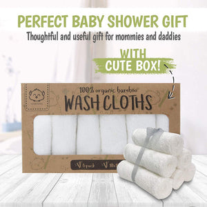 White Organic Bamboo Wash Cloth