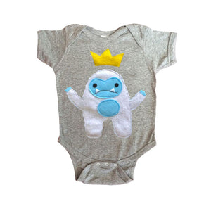 Grey Baby Onesie -Yeti King