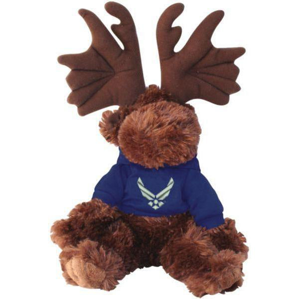 Air Force Blue Hooded Sweatshirt on Stuffed Plush Moose-justbabywear