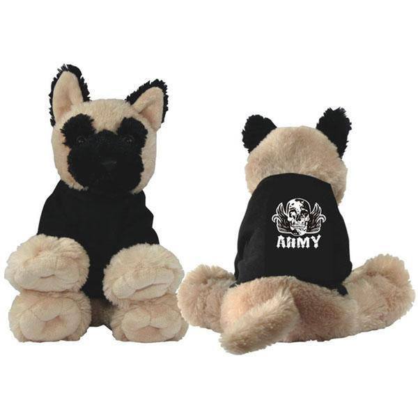 ARMY Skull with Wings Embroidered Black Shirt Plush Toy Dog-justbabywear