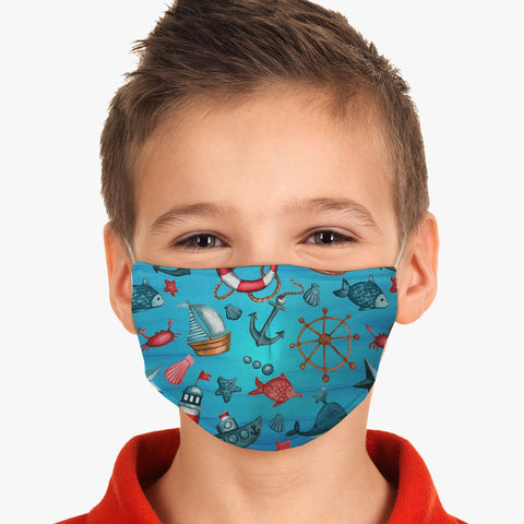 Youth Boats and Anchors Reusable Washable Face Cover