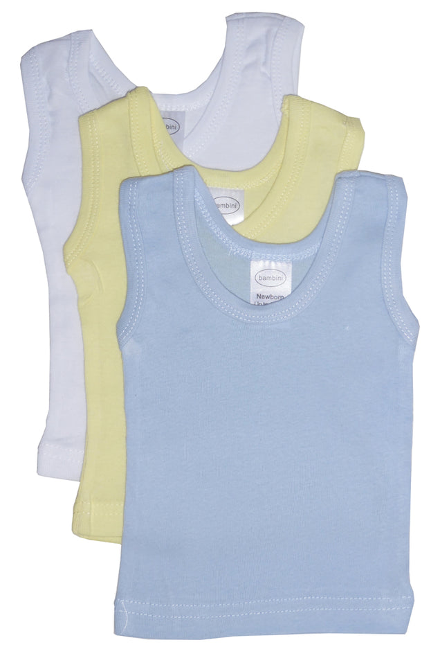 3 Pack Plain Sleeveless Pastel Tank Top for Baby Boys