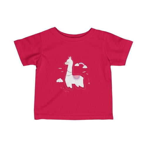 Baby Llama with rainbow Infant Girls Tee