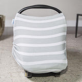 Gray Stripes - 2 in 1 Baby Car Seat Canopy and Breast Feeding Nursing Cover