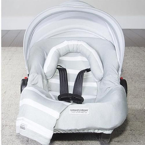 Gray Stripes - Car Seat Canopy 5 Pc Whole Caboodle Baby Infant Car Seat Cover Kit