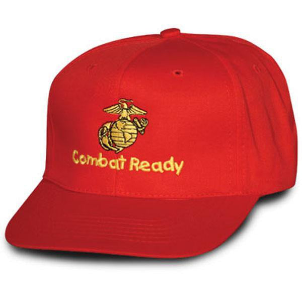 Marine Combat Ready Kids Red Ball Cap-justbabywear